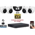 KIT PRO CVI 4 Caméras Dômes IR 50m 8 MegaPixels UHD 4K + Enregistreur CVI 8MP H264+ 2000 Go / Pack de vidéo surveillance