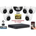 KIT PRO CVI 6 Caméras Dômes IR 50m 8 MegaPixels UHD 4K + Enregistreur CVI 8MP H264+ 2000 Go / Pack de vidéo surveillance