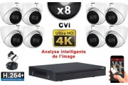 KIT PRO CVI 8 Caméras Dômes IR 50m 8 MegaPixels UHD 4K + Enregistreur CVI 8MP H264+ 3000 Go / Pack de vidéo surveillance