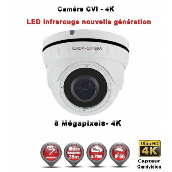 Dôme AHD / CVI / TVI Anti-vandal 8 MegaPixels UHD 4K IR 35m étanche réf: EC-XVID308MP - caméra surveillance