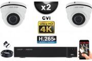 KIT PRO CVI 2 Caméras Dômes IR 35m 8 MegaPixels UHD 4K + Enregistreur CVI 8MP H265+ 1000 Go / Pack de vidéo surveillance