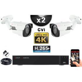KIT PRO CVI 2 Caméras Tubes IR 40m 8 MegaPixels UHD 4K + Enregistreur CVI 8MP H265+ 1000 Go / Pack de vidéo surveillance