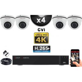 KIT PRO CVI 4 Caméras Dômes IR 35m 8 MegaPixels UHD 4K + Enregistreur CVI 8MP H265+ 2000 Go / Pack de vidéo surveillance