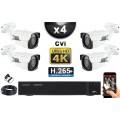 KIT PRO CVI 4 Caméras Tubes IR 40m 8 MegaPixels UHD 4K + Enregistreur CVI 8MP H265+ 2000 Go / Pack de vidéo surveillance