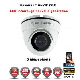 DOME IP ANTI-VANDAL IR 20M ONVIF POE Capteur SONY 5 MegaPixels / REF : EC-D5MP20S - CAMÉRA DE VIDÉO SURVEILLANCE IP