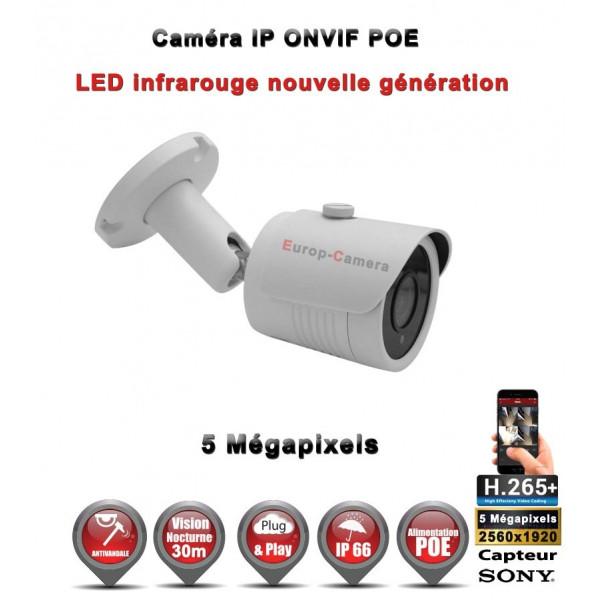 Kit Vidéo Surveillance PRO IP : 16x Caméras POE Tubes IR 30M Capteur SONY 5 MegaPixels + Enregistreur NVR 25 canaux H265+ 3000 G
