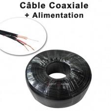 Câble 2 en 1 : coaxial vidéo KX6 alimentation 2G0.5 noir bobine à sertir de 50 mètres