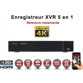 Enregistreur numérique 5 en 1 XVR AHD CVI TVI IP 16 canaux H265+ UHD 4K 8MP 5MP 4MP 1080P / Ref : EC-XVR16-5MPH265
