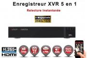 Enregistreur numérique 5 en 1 XVR AHD CVI TVI IP 8 canaux H265+ 5MP 4MP 1080P FULL HD / Ref : EC-XVR8-1080PH265