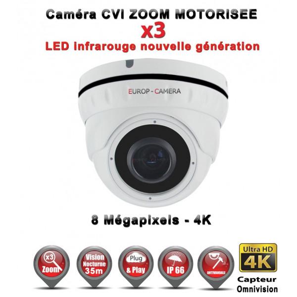 Dôme AHD / CVI / TVI Anti-vandal 8 MegaPixels UHD 4K IR 35m Zoom motorisée X3 étanche réf: EC-XVI4KD30AZ - caméra surveillance