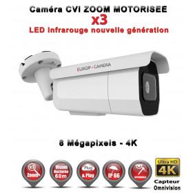 Tube AHD / CVI / TVI Anti-vandal 8 MegaPixels UHD 4K IR 60m Zoom motorisée X3 étanche réf: EC-XVI4KC60AZ - caméra surveillance