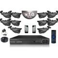 KIT CONFORT 10 Caméras Tubes SONY 700 Lignes + Enregistreur DVR 1000 Go / Pack de vidéo surveillance