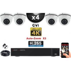 KIT PRO CVI 4 Caméras Dômes AUTOZOOM X3 IR 35m 8MP UHD 4K + Enregistreur CVI 8MP H265+ 2000 Go / Pack de vidéo surveillance