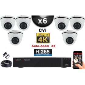 KIT PRO CVI 6 Caméras Dômes AUTOZOOM X3 IR 35m 8MP UHD 4K + Enregistreur CVI 8MP H264+ 2000 Go / Pack de vidéo surveillance