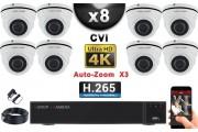KIT PRO CVI 8 Caméras Dômes AUTOZOOM X3 IR 35m 8MP UHD 4K + Enregistreur CVI 8MP H264+ 3000 Go / Pack de vidéo surveillance