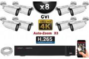 KIT PRO CVI 8 Caméras Tubes AUTOZOOM X3 IR 60m 8MP UHD 4K + Enregistreur CVI 8MP H264+ 3000 Go / Pack de vidéo surveillance