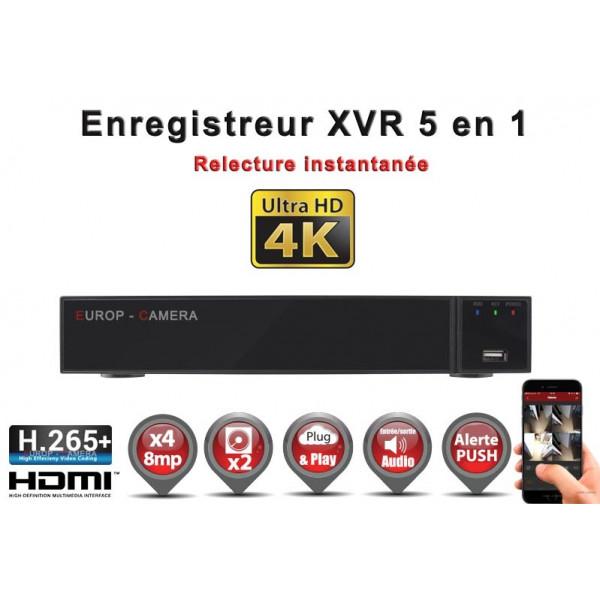 Enregistreur numérique 5 en 1 XVR AHD CVI TVI IP 4 canaux H265+ UHD 4K 8MP 5MP 4MP 1080P / Ref : EC-XVR4-5MPH265