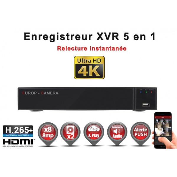 Enregistreur numérique 5 en 1 XVR AHD CVI TVI IP 8 canaux H265+ UHD 4K 8MP 5MP 4MP 1080P / Ref : EC-XVR8-5MPH265
