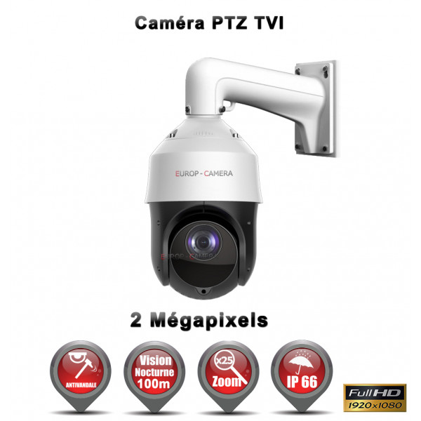 Caméra surveillance motorisée PTZ 360° TVI 2MP FULL HD 1080P IR 100M Zoom X25