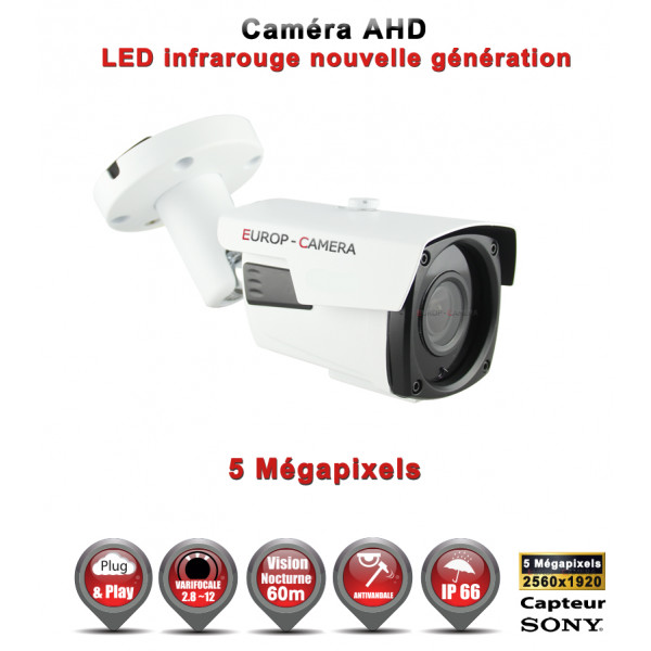 Tube AHD / CVI / TVI Capteur SONY 5 MegaPixels IR 60m étanche réf: EC-AHDC604MPS - caméra vidéo surveillance