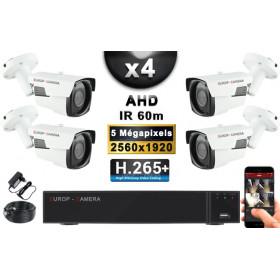 KIT PRO AHD 4 Caméras Tubes IR 60m Capteur SONY 5 MegaPixels + Enregistreur XVR 8MP H265+ 2000 Go / Pack de vidéo surveillance