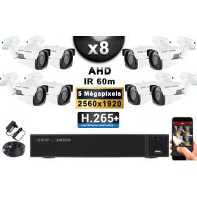 KIT PRO AHD 8 Caméras Tubes IR 60m Capteur SONY 5 MegaPixels + Enregistreur XVR 8MP H265+ 3000 Go / Pack de vidéo surveillance