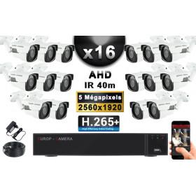 KIT PRO AHD 16 Caméras Tubes IR 40m Capteur SONY 5 MegaPixels + Enregistreur XVR 8MP H265+ 3000 Go / Pack vidéo surveillance