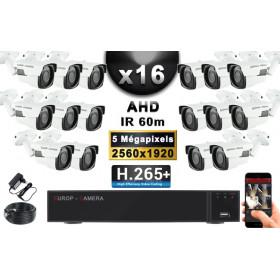 KIT PRO AHD 16 Caméras Tubes IR 60m Capteur SONY 5 MegaPixels + Enregistreur XVR 8MP H265+ 3000 Go / Pack vidéo surveillance