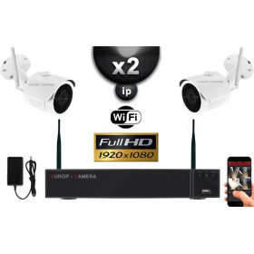 Kit Vidéo Surveillance PRO IP : 2X Caméras Tubes WIFI IR 30M FULL HD 1080P + Enregistreur NVR WIFI H265+ 1000 Go
