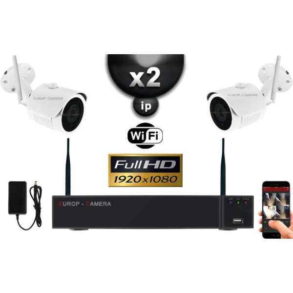 KIT VIDÉO SURVEILLANCE PRO IP : 2X CAMÉRAS TUBES WIFI IR 30M FULL HD 1080P + ENREGISTREUR NVR WIFI H265+ HD 1000 GO