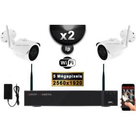 Kit Vidéo Surveillance PRO IP : 2X Caméras Tubes WIFI IR 30M 5 MegaPixels + Enregistreur NVR WIFI H265+ 1000 Go
