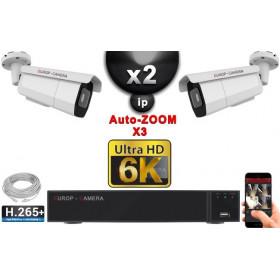 Kit Vidéo Surveillance PRO IP 2x Caméras POE Tubes AUTOZOOM X3 IR 60M SONY UHD 6K + Enregistreur NVR 25 canaux H265+ 6K 2000 Go