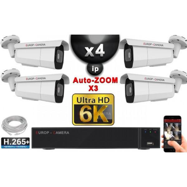 Kit Vidéo Surveillance PRO IP 4x Caméras POE Tubes AUTOZOOM X4 IR 60M SONY UHD 6K + Enregistreur NVR 25 canaux H265+ 6K 3000 Go