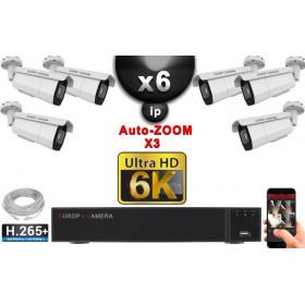 Kit Vidéo Surveillance PRO IP 6x Caméras POE Tubes AUTOZOOM X3 IR 60M SONY UHD 6K + Enregistreur NVR 25 canaux H265+ 6K 3000 Go