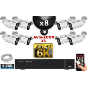 Kit Vidéo Surveillance PRO IP 8x Caméras POE Tubes AUTOZOOM X3 IR 60M SONY UHD 6K + Enregistreur NVR 25 canaux H265+ 6K 3000 Go