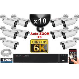 Kit Vidéo Surveillance PRO IP 10x Caméras POE Tubes AUTOZOOM X3 IR 60M SONY UHD 6K + Enregistreur NVR 25 canaux H265+ 6K 3000 Go