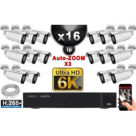 Kit Vidéo Surveillance PRO IP 16x Caméras POE Tubes AUTOZOOM X3 IR 60M SONY UHD 6K + Enregistreur NVR 25 canaux H265+ 6K 3000 Go