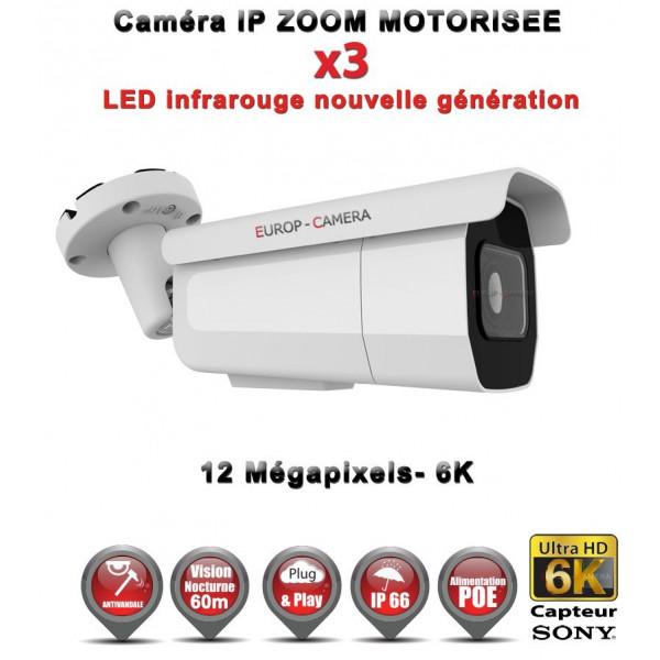 Kit Vidéo Surveillance PRO IP 16x Caméras POE Tubes AUTOZOOM X4 IR 60M SONY UHD 4K + Enregistreur NVR 30 canaux H265+ 4K 3000 Go