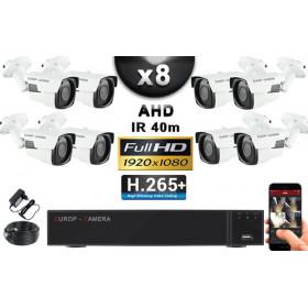 KIT PRO AHD 8 Caméras Tubes IR 40m Capteur SONY FULL HD 1080P + Enregistreur XVR 5MP H265+ 3000 Go / Pack vidéo surveillance