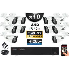 KIT PRO AHD 10 Caméras Tubes IR 40m Capteur SONY FULL HD 1080P + Enregistreur XVR 5MP H265+ 3000 Go / Pack vidéo surveillance