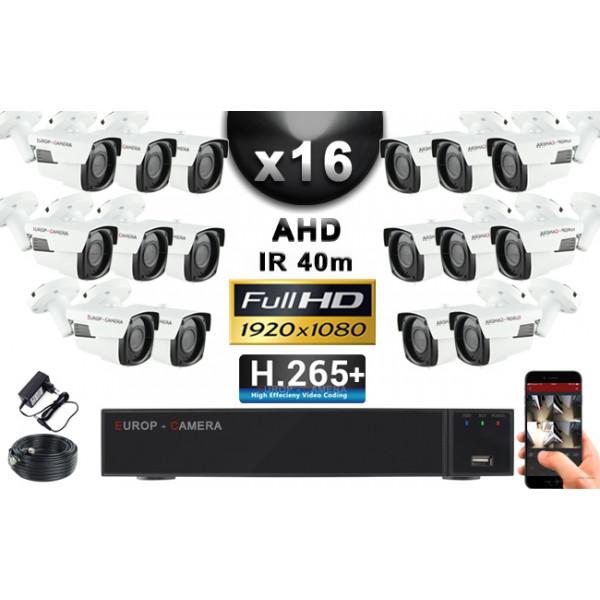 KIT PRO AHD 16 Caméras Tubes IR 40m Capteur SONY FULL HD 1080P + Enregistreur XVR 5MP H265+ 3000 Go / Pack vidéo surveillance