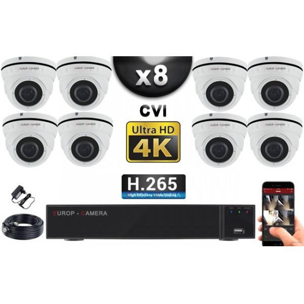 KIT PRO CVI 8 Caméras Dômes IR 35m 8 MegaPixels UHD 4K + Enregistreur CVI 8MP H264+ 3000 Go / Pack de vidéo surveillance