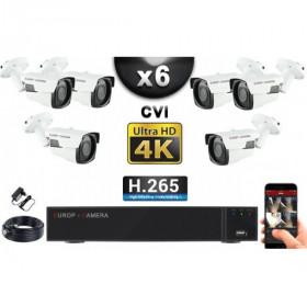 KIT PRO CVI 6 Caméras Tubes IR 40m 8 MegaPixels UHD 4K + Enregistreur CVI 8MP H264+ 2000 Go / Pack de vidéo surveillance