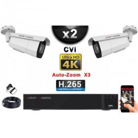 KIT PRO CVI 2 Caméras Tubes AUTOZOOM X3 IR 60m 8MP UHD 4K + Enregistreur CVI 8MP H265+ 1000 Go / Pack de vidéo surveillance