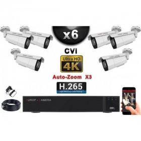 KIT PRO CVI 6 Caméras Tubes AUTOZOOM X3 IR 60m 8MP UHD 4K + Enregistreur CVI 8MP H264+ 2000 Go / Pack de vidéo surveillance