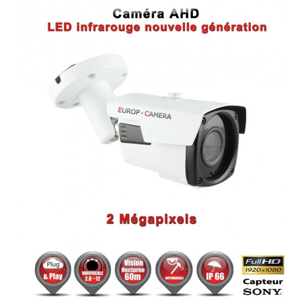 Tube AHD / CVI / TVI Capteur SONY 2.1MP FULL HD 1080P IR 60m étanche réf: EC-AHDC60FHDS - caméra vidéo surveillance