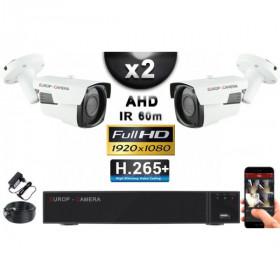 KIT PRO AHD 2 Caméras Tubes IR 60m Capteur SONY FULL HD 1080P + Enregistreur XVR 5MP H265+ 1000 Go / Pack vidéo surveillance