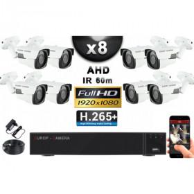 KIT PRO AHD 8 Caméras Tubes IR 60m Capteur SONY FULL HD 1080P + Enregistreur XVR 5MP H265+ 3000 Go / Pack vidéo surveillance
