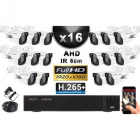 KIT PRO AHD 16 Caméras Tubes IR 60m Capteur SONY FULL HD 1080P + Enregistreur XVR 5MP H265+ 3000 Go / Pack vidéo surveillance