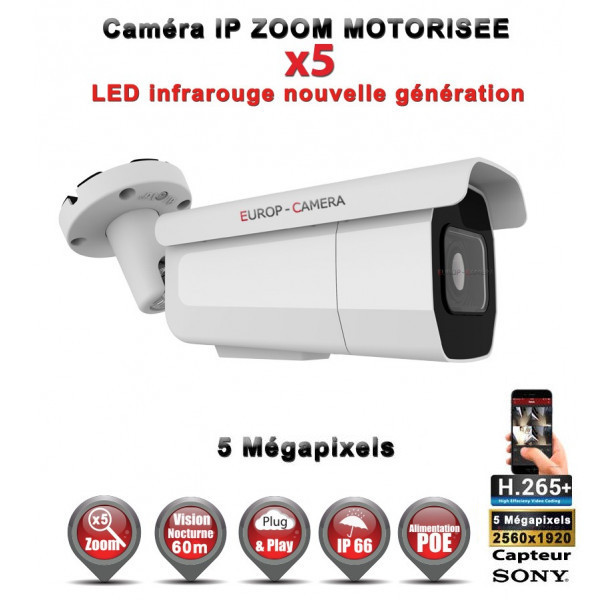 Tube IP Zoom Motorisée X5 anti-vandal IR 60M ONVIF POE SONY 5 MegaPixels - Caméra surveillance IP